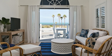Room with a beautiful beach view