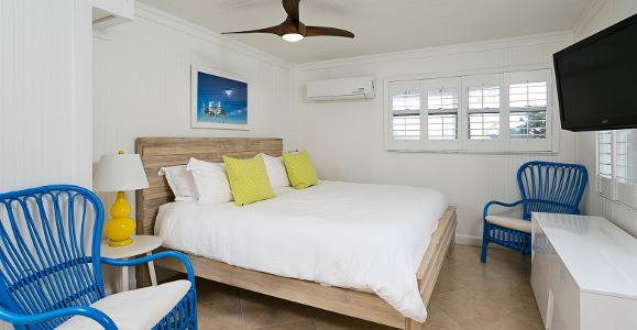 hibiscus bedroom with tv, bed, blue chairs