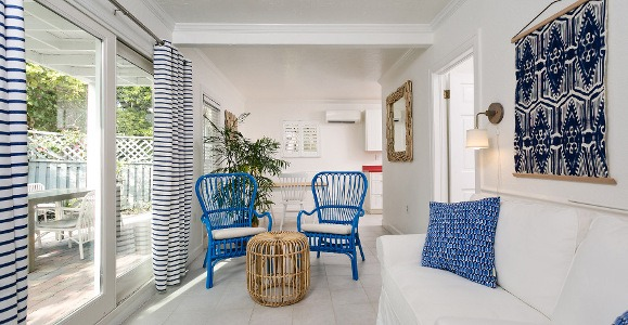 corraline room in white with blue accents
