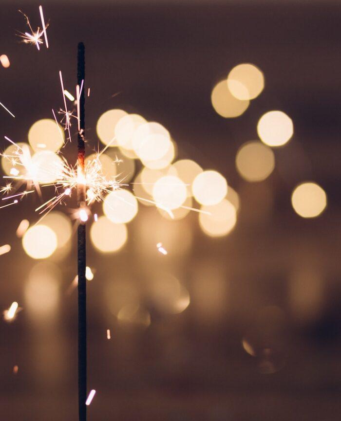 sparkler showering lights at night