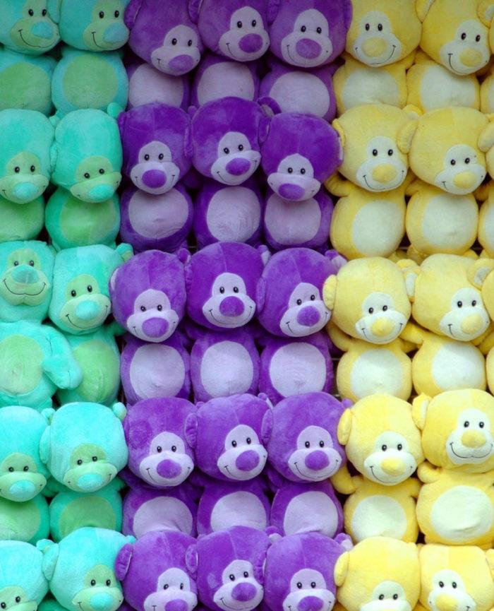 colorful rows of stuffed animals