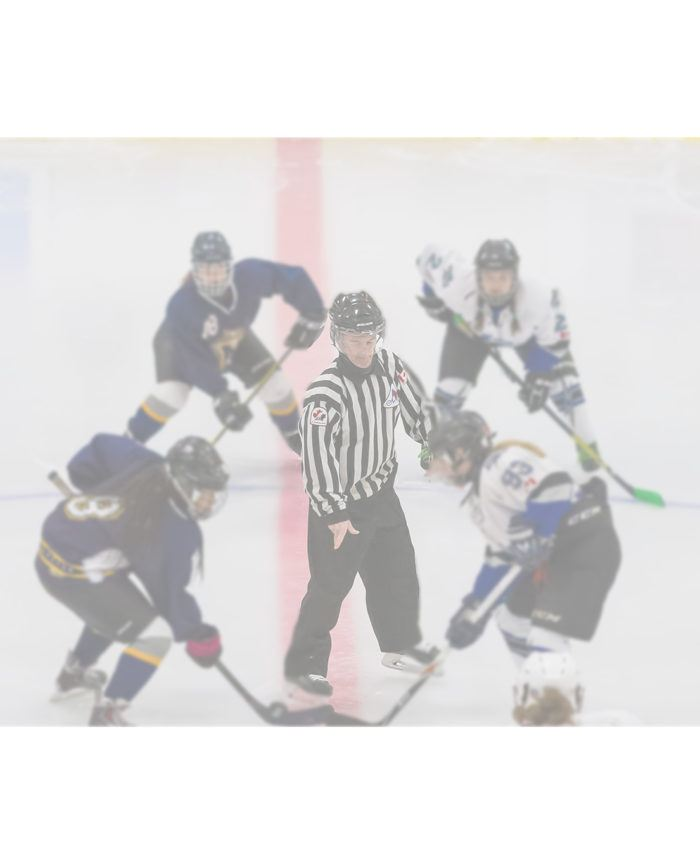 Two hockey players facing off